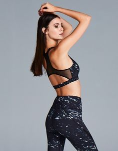 Camwood Black Marble Sports Bra