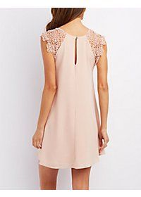 Jella C Crochet-Trim Shift Dress Dresses For Teens, Casual Dresses For Women, Short Dresses, Clothes For Women, Couture Dresses, Fashion Dresses, Dress Sewing Patterns, Crochet Trim, Cotton Dresses