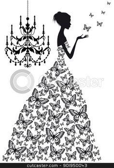 woman with butterflies, vector stock vector clipart, woman with butterflies and vinatge chandelier, vector silhoutte by Beata Kraus
