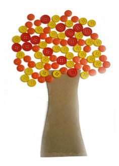 """Button Tree Craft. I love the button idea. Thinking maybe I'll do a fall """"wreath"""" covered in buttons and the kids handprint turkeys...hmmm...."""
