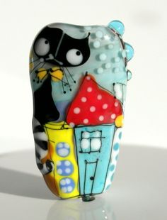 Artisan glass bead, Lampwork glass bead, handmade glass focal bead, glass focal bead, Cat and bird bead, house bead Spring on the roof by GlassAfternoon on Etsy