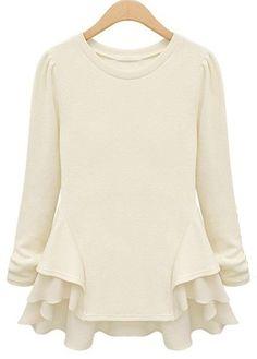 Enchanting Beige Long Sleeve Ruffle Decorated T Shirt