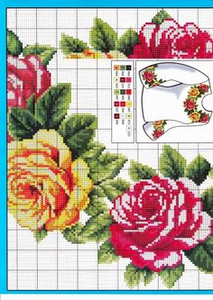 cross stitch kanaviçe rose gül