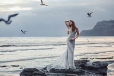 This Ariel-inspired gown is playful, yet elegant. A subtle flared train is reminiscent of a mermaid's silhouette, while sparkling sequins mimic the play of light across the moonlit sea. Disney Inspired Wedding Dresses, Dream Wedding, Wedding Day, Wedding Stuff, Ariel Dress, Mermaid Silhouette, Bridal And Formal, Wedding Dress Sizes, Formal Gowns