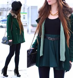 Chic Wish Dark Green Wool Coat With Fur Collar, Indressme Green Cardigan, H&M Black Top, Romwe Green Skirt With Black Belt, H&M Black Knitted Cap, Arafeel Black Quilted Bag With Gold Chain, Chunky Gold Necklace, Black Tights, Vivilli Suede Black Ankle Boo