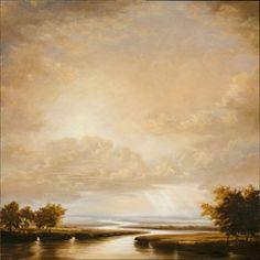"Victoria Adams, ""Ochre Dream,"" 2012, oil and wax on linen, 48 x 48"", $ 12,000"