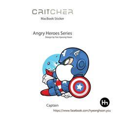 macbook sticker captain america angry Heroes