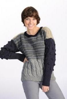 Pretty, perky striped, pattern mix ladies pullover of Schachenmayr original Aventica