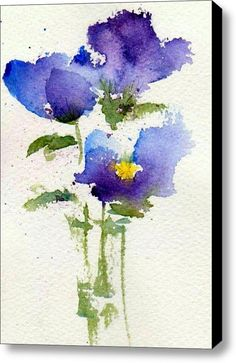 Violets Stretched Canvas Print / Canvas Art By Anne Duke