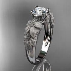 14kt  white gold diamond floral wedding ring,engagement ring ADLR96......