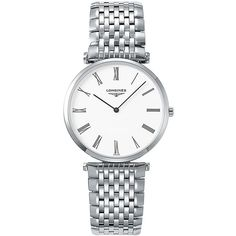 Longines Automatic Stainless Steel Bracelet Watch ($1,150) ❤ liked on Polyvore featuring jewelry, watches, silver, stainless steel watch bracelet, bezel watches, longines watches, watch bracelet and white dial watches
