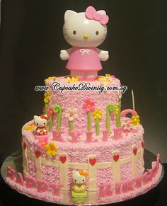 Cupcake Divinity.. Cupcakes fit for divines!: Maxi 2 Tier Hello Kitty & Kylie Birthday Cake