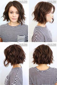 Wavy bob haircuts messy waves bob haircut for wavy hair shoulder length short hairstyles for women