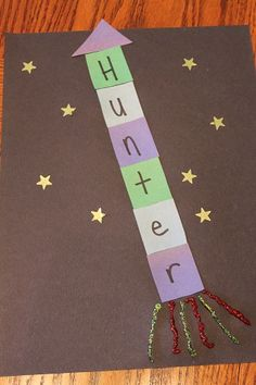 S is for Space or R is for Rocket.  Name Rocket Ship - cool for boys bedroom door!