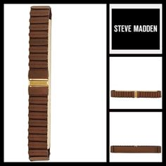 "STEVE MADDEN Textured stretch Belt NEW WITH TAGS   STEVE MADDEN Textured stretch Belt  * Elasticized, stretch-to-fit style   * Hook-and-loop front closure  * Tagged size size M-L fits approx dress sizes 8-14  * Approx 1 5/8"" W  Material: Manmade Color: Brown w/gold-tone   No Trades ✅ Offers Considered*/Bundle Discounts✅ *Please use the 'offer' button to submit your best offer. Steve Madden Accessories Belts"