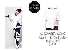 MINZY | ALEXANDER WANG Asymmetric T-shirt with Hidden Bra