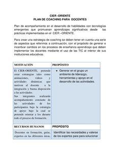CIER -ORIENTE  PLAN DE COACHING PARA DOCENTES  Plan de acompañamiento en el desarrollo de habilidades con tecnologías  eme...