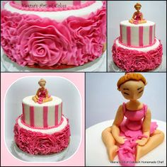 Fondant Rose Ruffle Cake with Ballerica cake topper