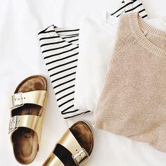 summer sweaters + gold birkenstocks