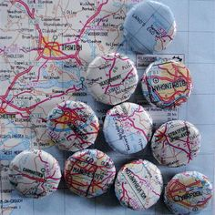 Map magnets of places you have been