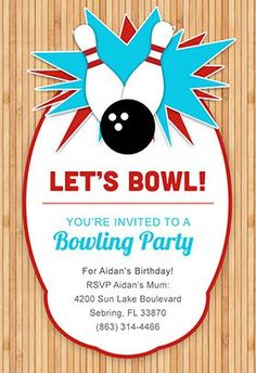 Bowling Personalized Invitations Let You Use Your Own Words To