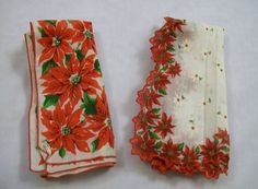 Vintage Handkerchief, Christmas Hankies, Floral Handkerchief, Set of Hankies, Colorful Hankies, Cottton Hankies, Vintage Hankie by VintagePlusCrafts on Etsy