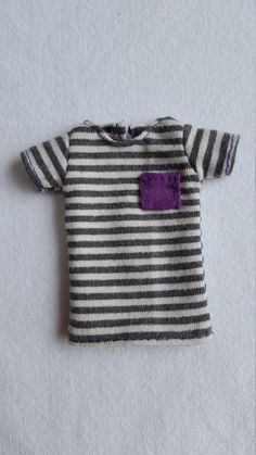 Striped T-shirt with pocket for Isul doll Grey Stripes, Hand Stitching, Buy And Sell, Doll, Pocket, Purple, T Shirt, Handmade, Stuff To Buy