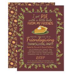 Shop Thanksgiving Friendsgiving Party Pumpkin Pie Humor Invitation created by FancyCelebration. Custom Invitations, Party Invitations, Invitation Cards, Pie Puns, November Holidays, Thanksgiving Pies, Holiday Cards, Pumpkin, Humor