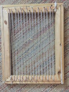 Super Easy Loom: well, this is how I make my looms! there's a ton of other tutorials out there that'll get you a much nicer loom, but if you want something that's super easy and cheap, you could give this one a shot! Weaving Loom Diy, Rug Loom, Pin Weaving, Canvas Picture Frames, Loom Board, Bible School Crafts, Simple Pictures, Weaving Projects, Woven Wall Hanging