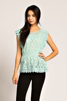 CROCHET EMBROIDERED FLORAL LACE TUNIC- Mint