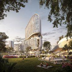 UNStudio unveils masterplan for Karle Town Centre smart city in Bangalore Urban Heat Island, Passive Design, Green Environment, Sky Garden, Brand Building, Smart City, Urban Life, Urban Planning, Architecture Design