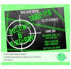 Free printable laser tag invitations template birthday pinterest laser tag birthday party invitation printable file we fill and you print filmwisefo Images