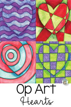 Art Hearts Op Art Hearts - perfect for Valentine's Day! This Op Art lesson has many variations and options. Op Art Hearts - perfect for Valentine's Day! This Op Art lesson has many variations and options. Art Projects For Adults, Toddler Art Projects, School Art Projects, Fun Art Projects, Children Art Projects, Art For Children, Pop Art For Kids, Art Education Projects, Art Education Lessons