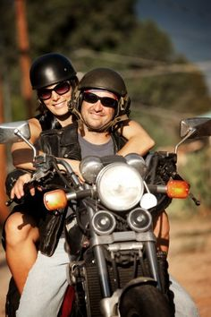 couple on road trip on a motorcycle