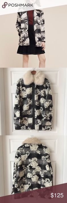 "Anthropologie Coat By Hei Hei - Small Reminiscent of a cloudy winter sky, this knit coat is speckled with tufts of faux-fur. From Hei Hei.  Wool, polyester, acrylic Removable faux-fur collar Side pockets Zip front 31""L Anthropologie Jackets & Coats"