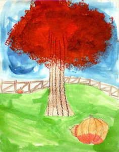 Spot of Color: 2nd Grade Fall Trees