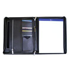 Royce Leather 'James' Zippered Writing Padfolio Top Grain Nappa Leather 758-BLACK-5