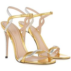 Gucci Sandals - Nappa Silk High-Heeled Sandal Oro Vecchio/Argento - in... (1.535 BRL) ❤ liked on Polyvore featuring shoes, sandals, gucci, stiletto heel sandals, ankle strap sandals, gold sandals, gold metallic sandals and silver heeled sandals