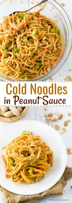 Savory chilled noodles smothered in a flavorful peanut sauce and topped with green onions and chopped peanuts. A perfect group side dish or meatless lunch!