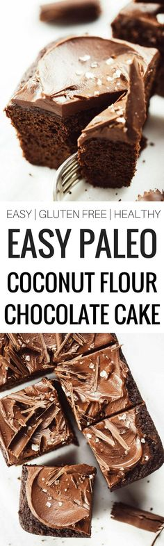 Best paleo chocolate sheet cake recipe with the best chocolate frosting! Easy and delicious- anyone can make it! Perfect for birthdays holidays and after weeknight dinners. Gluten free grain free dairy free and no refined sugar. Paleo Dessert, Coconut Dessert, Healthy Sweets, Gluten Free Desserts, Dairy Free Recipes, Dessert Recipes, Paleo Recipes, Desserts With Coconut Flour, Best Gluten Free Cake Recipe