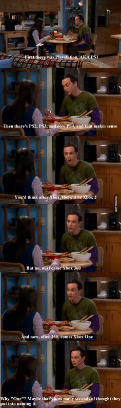 Sheldon on PS4 vs Xbox One.  I apologize to all who have had to endure this same conversation with me!