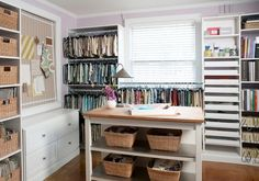 Liz Carroll Interiors: Interior designers dream office with hardwood floors and wall to wall storage! Built in ...