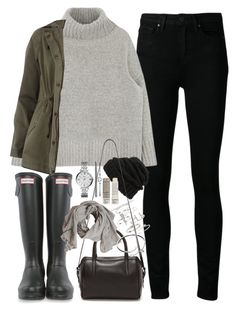 """""""Outfit for a rainy day with wellingtons"""" by ferned ❤ liked on Polyvore featuring Paige Denim, Hunter, FOSSIL, Leith, Dorothy Perkins, Topshop, Reece Hudson, Cartier and Korres"""