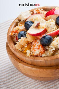 Une recette facile et rapide de taboulé sucré aux fruits d'été. #recette#cuisine#taboule#fruit #dessert Dessert Aux Fruits, Fruit Salad, Acai Bowl, Nom Nom, Buffet, Oatmeal, Veggies, Sweets, Vegan