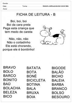 Ficha de Leitura Letra B - Boi Portuguese Lessons, Spanish Class, Professor, Homeschool, Classroom, Thoughts, Education, Hinata, Pasta
