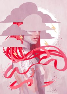 STORM GIRL FUCK HEART by Javier González Pacheco #illustration #pink