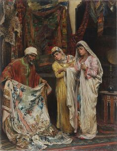 FABBI FABIO (1861 - 1946) The Rug Merchant. Oil on canvas Signed on lower left. Beautiful nineteenth-century carved and gilded frame. 44,00 x 55,00 cm