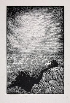 Girl in Grain, 1920, woodcut,  František Kobliha (Czech, 1877 - 1962)