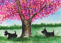 Scottie dogs Matt Art Print Scottish Terrier's