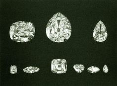 The nine numbered pieces of the  Cullinan Diamond. The two largest duamonds are in queen Elizabeth's scepter and crown.  The other seven diamonds are in three brooches, one necklace and a ring owned by Queen Elizabeth.